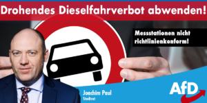 Joachim Paul (AfD): Drohendes Dieselfahrverbot abwenden